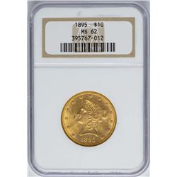 1895 $10 Liberty Head Eagle Gold Coin NGC MS62