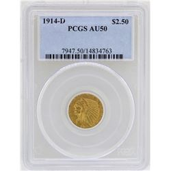 1914-D $2 1/2 Indian Head Quarter Eagle Gold Coin PCGS AU50