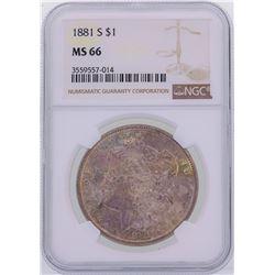 1881-S $1 Morgan Silver Dollar Coin NGC MS66 Amazing Toning