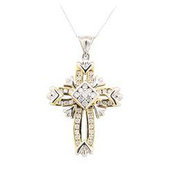 14KT White and Yellow Gold 1.50 ctw Diamond Pendant & Chain