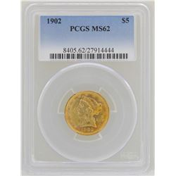 1902 $5 Liberty Head Half Eagle Gold Coin PCGS MS62