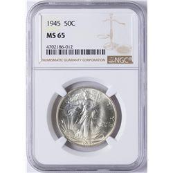 1945 Walking Liberty Half Dollar Coin NGC MS65