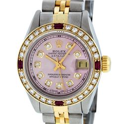 Rolex Ladies Two Tone 14K Ice Pink Diamond & Ruby Datejust Wristwatch