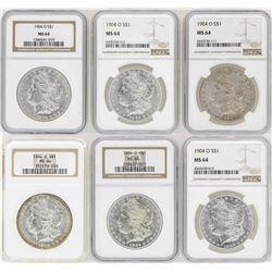 Lot of (4) 1904-O $1 Morgan Silver Dollar Coins NGC MS64