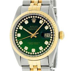 Rolex Mens Two Tone 14K Green String Diamond 36MM Datejust Watch