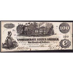 1862 $100 Confederate States of America Note T-41