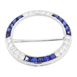 14KT White Gold 2.00 ctw Sapphire and Diamond Pin