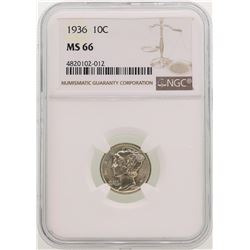 1936 Mercury Dime Coin NGC MS66
