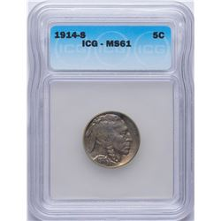 1914-S Buffalo Nickel Coin ICG MS61