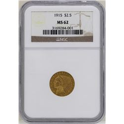 1915 $2 1/2 Indian Head Quarter Eagle Gold Coin NGC MS62