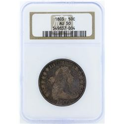 1803 Draped Bust Silver Half Dollar Coin NGC AU50