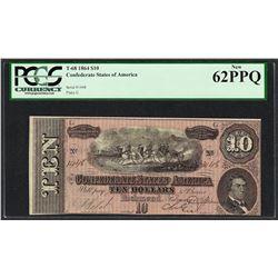 1864 $10 Confederate States of America Note T-68 PCGS New 62PPQ