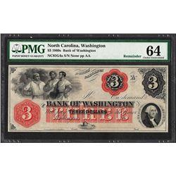 1860's $3 Bank of Washington North Carolina Obsolete Note PMG Choice Uncirculate