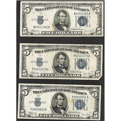 Lot of (3) 1934C $5 Silver Certificate Notes