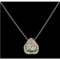 14KT White Gold 1.74 ctw Diamond Pendant with Chain
