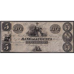 1800's $5 Bank of Augusta Obsolete Note