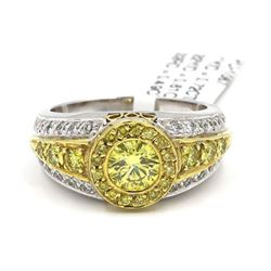 18KT Yellow Gold 1.82 ctw Fancy Yellow Round Cut Diamond Engagement Ring