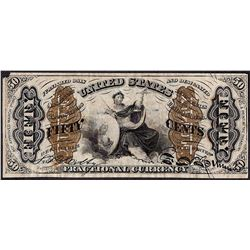 March 3, 1863 Third Issue Fifty Cent Fractional Currency Note - Corner Missing