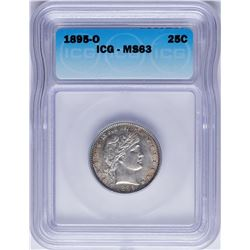 1895-O Barber Quarter Coin ICG MS63
