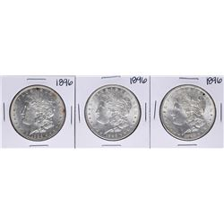 Lot of (3) 1896 $1 Morgan Silver Dollar Coins