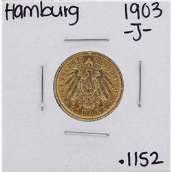 1903-J Hamburg 10 Mark Gold Coin