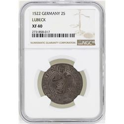1522 Germany 2S Lubeck Coin NGC XF40
