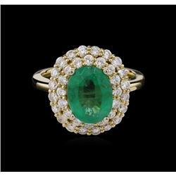 14KT Yellow Gold 2.63 ctw Emerald and Diamond Ring