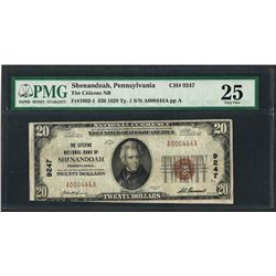 1929 $20 National Currency Note Shenandoah, Pennsylvania CH# 9247 PMG Very Fine