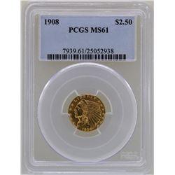 1908 $2 1/2 Liberty Head Quarter Eagle Gold Coin PCGS MS61