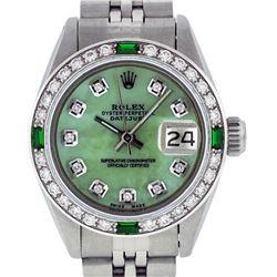 Rolex Ladies Stainless Steel Green MOP Diamond Datejust Wristwatch