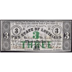 1862 $3 State of Louisiana Obsolete Note