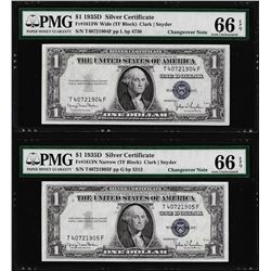 Changeover Pair of 1935D $1 Silver Certificate Notes PMG Gem Uncirculated 66EPQ