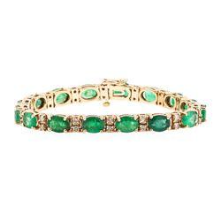 14KT Rose Gold 17.62 ctw Emerald and Diamond Bracelet