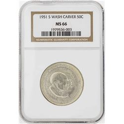 1951-S Washington-Carver Commemorative Half Dollar Coin NGC MS66