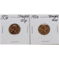 Lot of (2) 1956 Straight Clipped Planchet Lincoln Wheat Pennies ERROR Coins