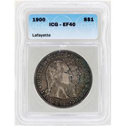 1900 $1 Lafayette Silver Dollar Commemorative Coin ICG XF40