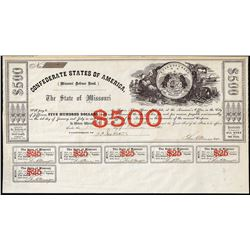 1861 $500 State of Missouri Defence Bond