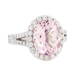 14KT White Gold 3.62 ctw Morganite and Diamond Ring