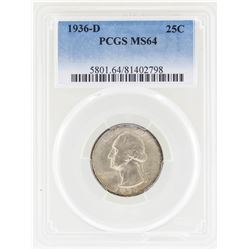 1936-D Washington Silver Quarter Coin PCGS MS64