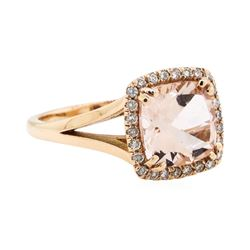 14KT Rose Gold 2.50 ctw Morganite and Diamond Ring