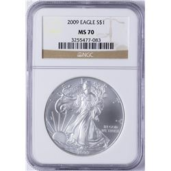 2009 $1 American Silver Eagle Dollar Coin NGC MS70
