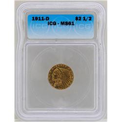 1911-D $2 1/2 Indian Head Quarter Eagle Gold Coin ICG MS61