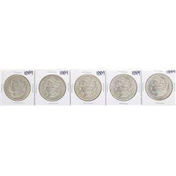 Lot of (5) 1889 $1 Morgan Silver Dollar Coins