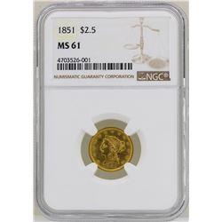 1851 $2 1/2 Liberty Head Quarter Eagle Gold Coin NGC MS61