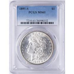 1891-S $1 Morgan Silver Dollar Coin PCGS MS61