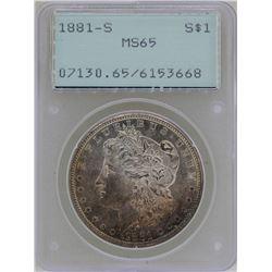 1881-S $1 Morgan Silver Dollar Coin PCGS MS65 Green Rattler Great Toning