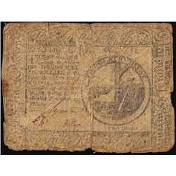 November 29, 1775 $2 Continental Currency Note - Split