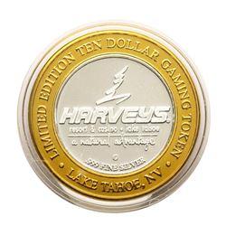 .999 Silver Harvey's Lake Tahoe, Nevada $10 Casino Gaming Token Limited Edition