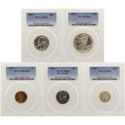 1939 (5) Coin Proof Set PCGS Graded PR65/PR66