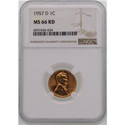 1957-D Lincoln Wheat Penny Coin NGC MS66RD